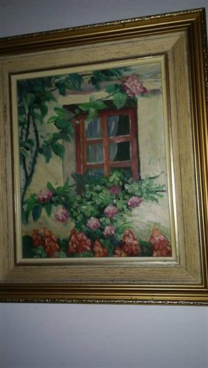 Floral window scene framed painting