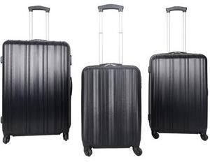 Travel Bags - Elegant Cavalier 3 Piece Set Black - 4 Wheel Abs
