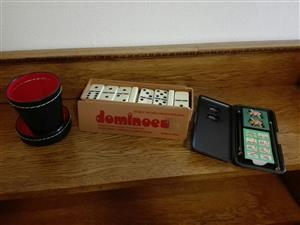 Games, domino set, Pass the Pigs & dice cup