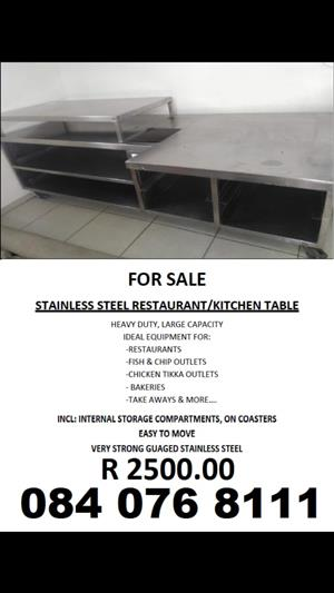 Stainless steel take away table