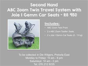 Second Hand ABC Zoom Twin Travel System with Joie I Gemm Car Seats