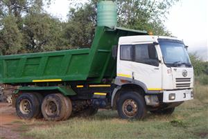 Tipper truck for sale/swop/trade. FAW 28/280.,2007,10 meter tipper WITH WORK AND CLIENT BASE