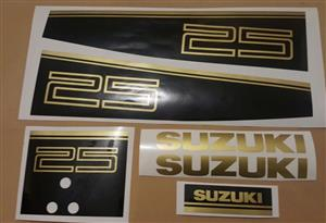 1990 Suzuki 25 two stoke outboard motor cowl decals stickers graphics kits