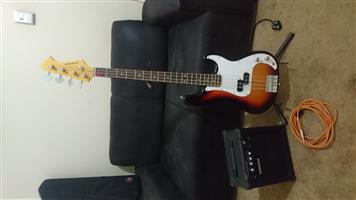 Sanchex Bass guitar and amp