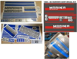 1984 Mariner 60 outboard motor decals stickers vinyl cut graphics sets