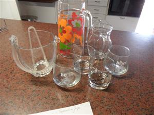 GLASSES JUGS AND ICE BUCKET - GLASS
