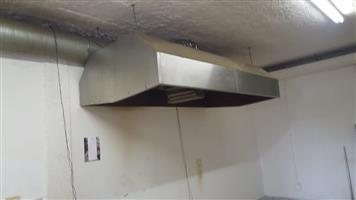 Stainless steel industrial kitchen extractor complete with canopy, R9,500.00