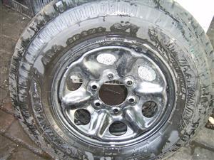 Dunlop 15 inch tyre on rim
