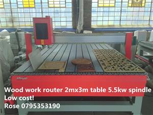 2mx3m wood work router 3 phase low cost design