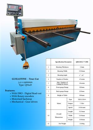 NEW!  GUILLOTINE  3.25 x 2500 mm TRUE-CUT WITH D.R.O