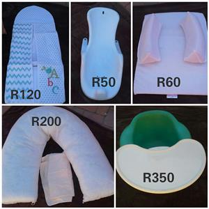 Changing pillows, bath seat and bumbo chair for sale