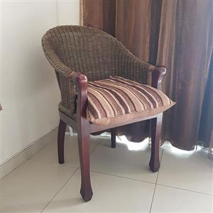 Cane chair with pillow for sale