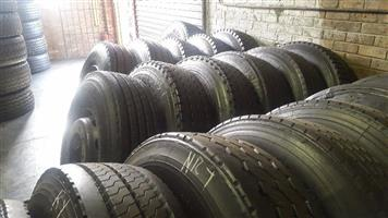 GOOD SECOND NHAND TRUCK TYRES WITH SOME DEEP TREAD FOR SALE,ALL SIZES,GOOD DISCOUNTS OFFERED,GUARANTEED