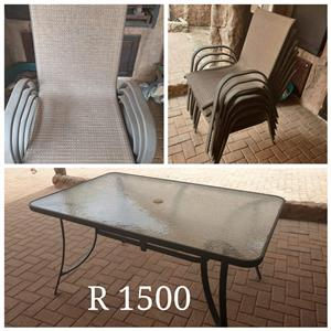 Glass patio set for sale