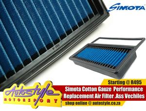 Simota flat pad filters available for most popular vehicles.