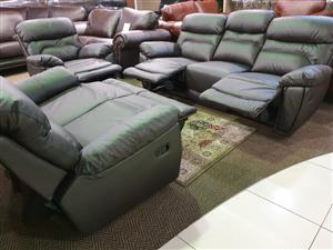 Adelaide Genuine Leather Upper 321 Lounge Suite for sale WAS R 39495 NOW R 28995