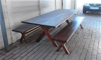 Solid Wood 8 seater table and bench set