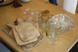Glassware,ashtrays and wooden shot servers