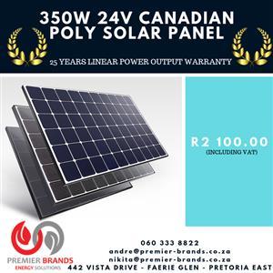 350W 24V CANADIAN POLY SOLAR PANELS