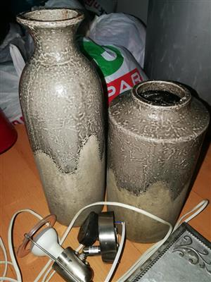 2 Grey colored flower vases for sale