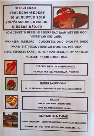 VROUEDAG - BEDERF 10/08/2019 - BIETJIEDAK PRIVATE SELF-CATERING VENUE VASTFONTEIN PRETORIA - S25.531347 E28.202954