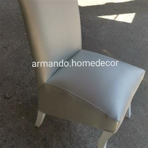 new silver and white faux leather dining chairs