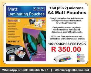 Matt Laminating Pouches - Size A4 (Box/100 Pouches)