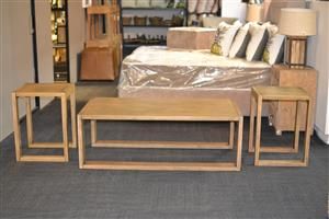 Oak Coffee Table with Side Tables