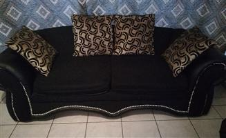 2 Seater large black suede couch