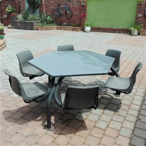 Six seater table and chairs. Excellent condition. Wheatherproof