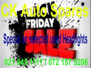 Black Friday Special on selected used Headlights for most vehicle makes and models.