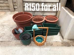 Various plastic planters for sale