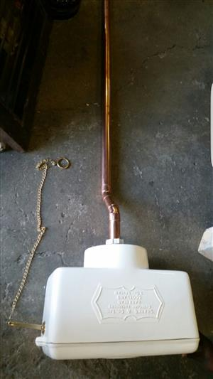 High level cistern with copper pipe