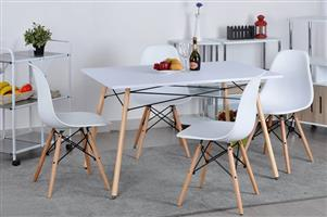 6 Seater wooden leg dining set