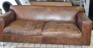 Brown 2 seater leather couch S030839A #Rosettenvillepawnshop