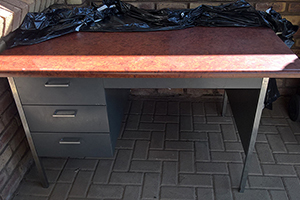 3-Drawer steel table with post form top for sale - price reduced