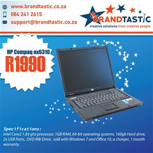 HP Compaq nx6310 Laptop @ only R1990