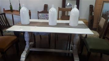 White duccoed patio table