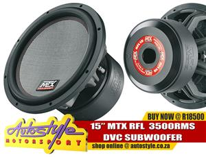 15inch Mtx Rfl 3500w rms Dvc subwoofer R18500 Autostyle Motorsport now offers FITMENT while you wait.