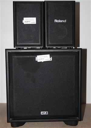 2 x Roland cube monitor speaker with power cable S031428A #Rosettenvillepawnshop