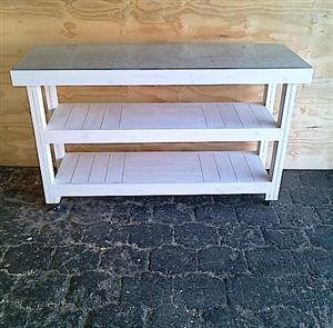 Kitchen Island Farmhouse series 1500 mobile White wash plus glass top
