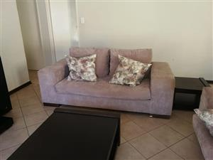 2 Seater beige suede couch