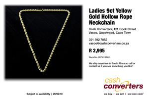 Ladies 9ct Yellow Gold Hollow Rope Neckchain
