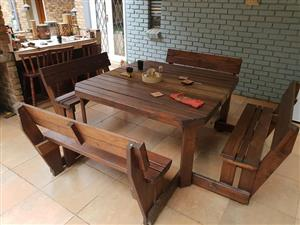 12 seater wooden outside table