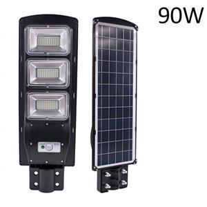 90W LED Solar Power Street Light, PIR Motion Sensor, Waterproof, Night Sensor