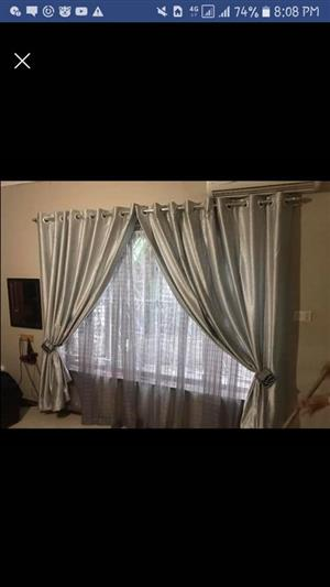 Silver silk curtains for sale