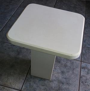2 x Granite Coffee Tables  Solid and Heavy . White in Color   400mmX 400mm X 410mm