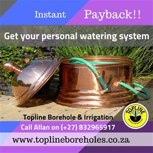Save on water with Topline Borehole & Irrigation systems in Gauteng.