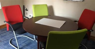 Round office table 4 colour chairs