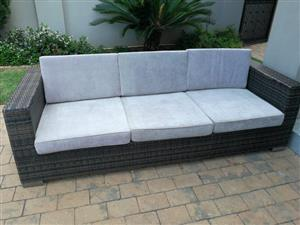 PATIO SET. ARTIFICIAL DARK BROWN WICKER LOUNGE SUITE. 1 x 3 seater & 1 x 2 seater